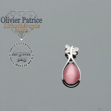 Pendentif quartz rose naturel surmonté d'un papillon en argent 925