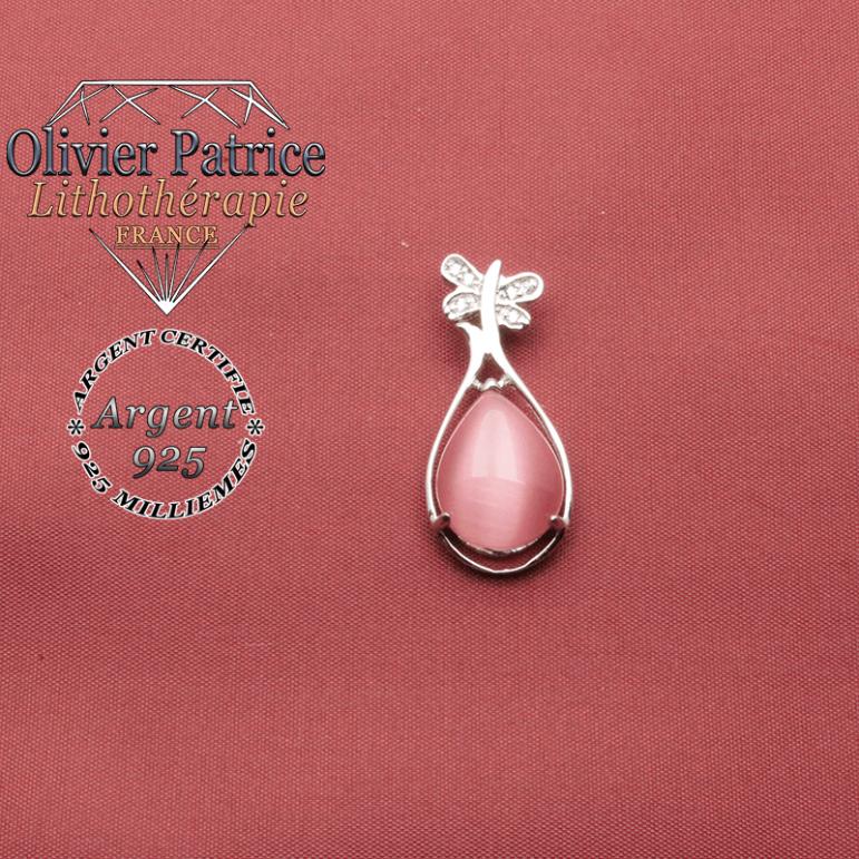 Pendentif pappillon en argent 925 et pierre naturelle de quartz rose