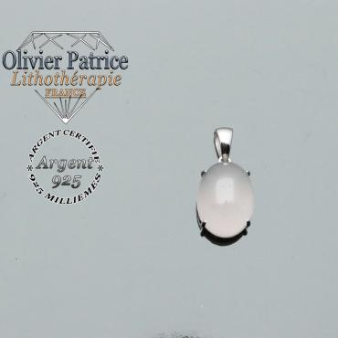 Pendentif quart rose ovale naturel avec bélière et chaîne offerte en argent 925