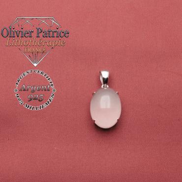 Pendentif argent 925 ovale composé d'une pierre naturelle de quartz rose