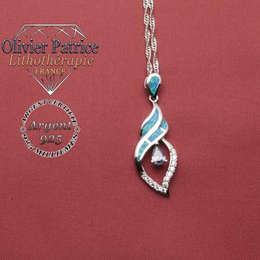 Pendentif en pierre naturelle d'opale de feu et en argent 925 en forme de tourbillon