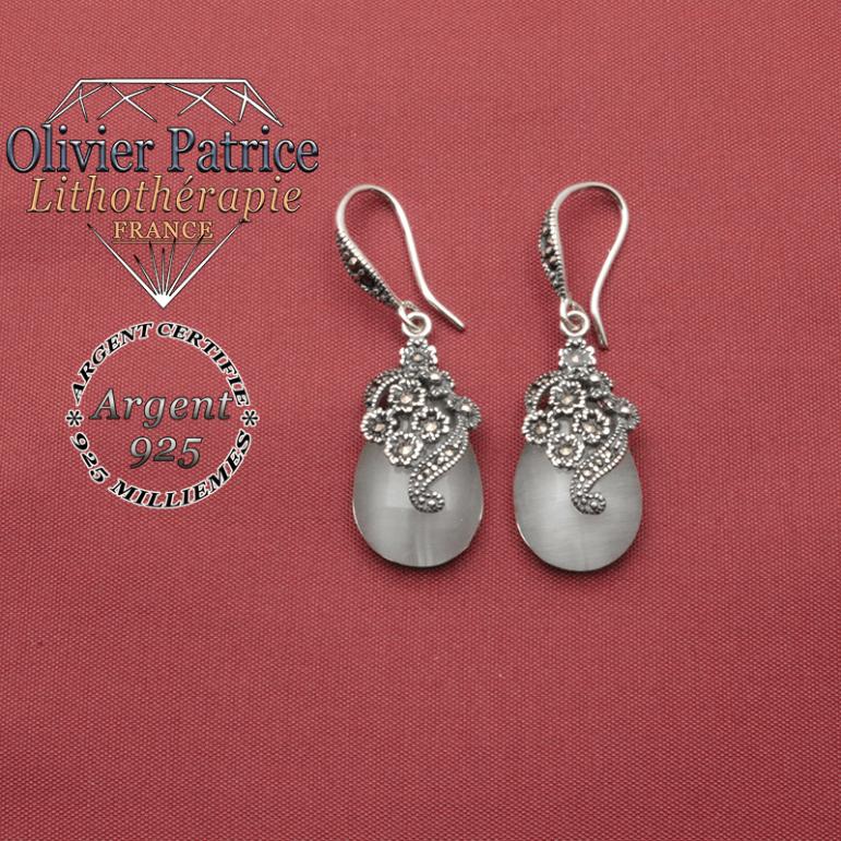 Boucles d'oreilles en opale naturelle en forme de goutte d'eau avec des fleurs en argent 925