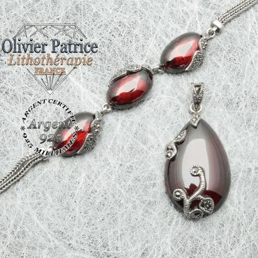 Parure en pierres naturelles grenat et en argent 925 composée d'un bracelet 3 pierres et un pendentif