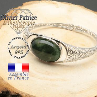 Bracelet à maille araignée en argent 925 avec une pierre agate mousse