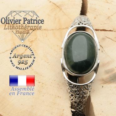 Bracelet pierre naturelle et argent 925 ouvert avec forme toile araignée