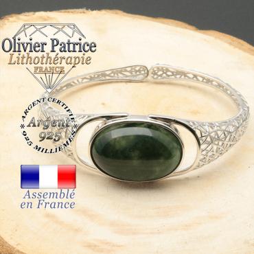 Bracelet toile araignée tissés en argent 925 et agate mousse pierre naturelle