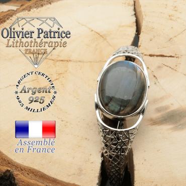 Bracelet pierre gemme labradorite naturelle et toile araignée jonc argent ouvert