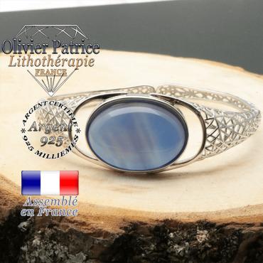 Bracelet jonc agate bleue naturelle en argent 925 ouvert en forme de toile tissée