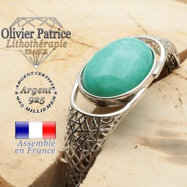 Bracelet de pierre naturelle amazonite et argent 925 tissé toile d'araignée jonc ouvert