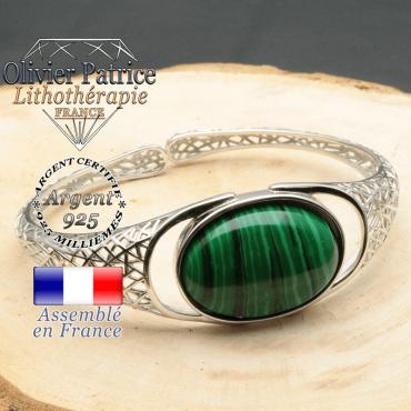 Bracelet femme jonc argent avec pierre malachite monté sur un anneau toile d'araignée