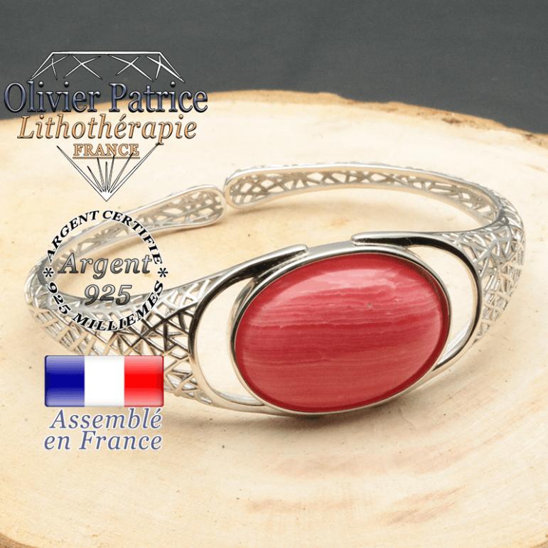 Bracelet rhodochrosite naturelle monté sur un anneau jonc femme ouvert avec tissage en forme de toile d'araignée