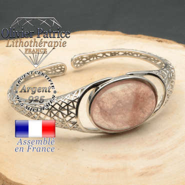 Bracelet pierre naturelle rose tourmaline pasteque en forme d'anneau ouvert jonc argent