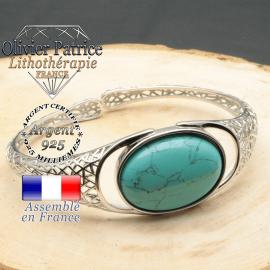 Bracelet monté avec une turquoise pierre naturelle en forme de toile d'araignée style jonc argent femme