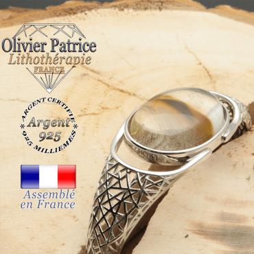 Bracelet dame en argent 925 en forme de jonc et pierre naturelle cerise quartz volcanique en toile araignée tissée