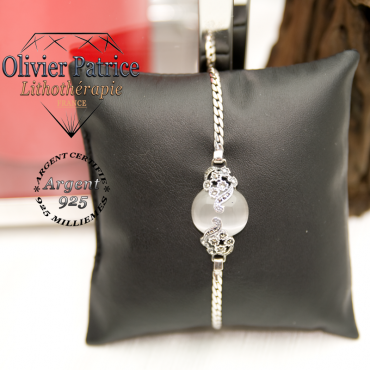 Bracelet opale orné de fleurs en argent 925