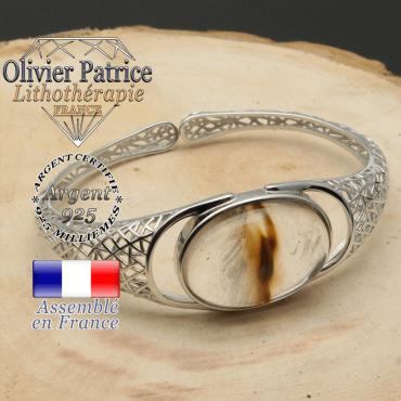 Bracelet quartz cerise volcan en forme de jonc argent ouvert finement tissé comme la toile d'araignée