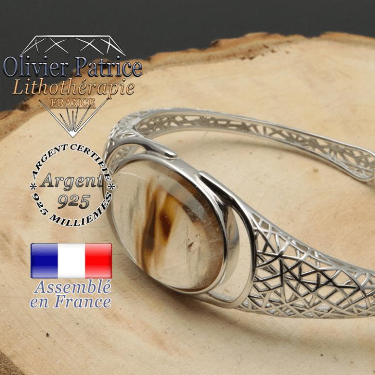 Bracelet quartz volcan cerise naturelle et tissage style toile d'araignée pour femme jonc ouvert