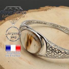 Bracelet quartz cerise volcan toile d'araignée ouvert en argent 925