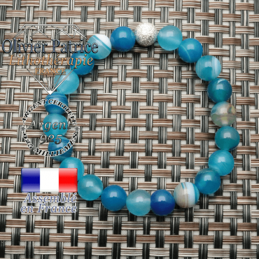 Bracelet appret strass brillant et uni en argent 925 monté avec des perles naturelles agate bleues à bandes