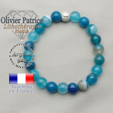 Bracelet naturel en argent 925 fini avec une boule strass symbole des JO monté en agate bleue à bandes