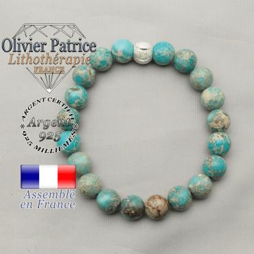 Bracelet agate dentelle et boule smiley sourire argent 925