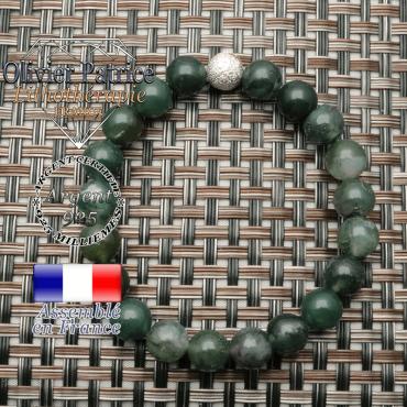 Bracelet en agate de mousse couleur verte pierre gemme naturelle montée avec boule strass en argent 925 unie