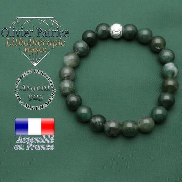 Bracelet pour femme argent 925 avec pierre naturelle et boule jeux olympiques