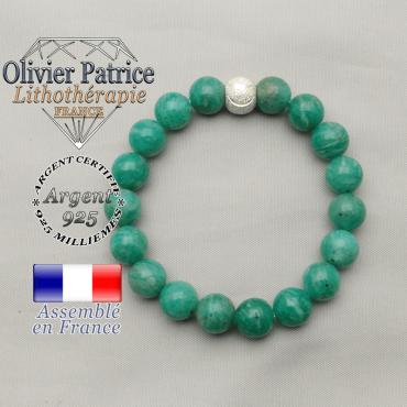 Bracelet tout sourire amazonite de Russie naturel avec strass smiley argent 925