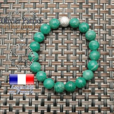 Bracelet amazonite russe naturelle et son appret en argent 925 strass brillant uni