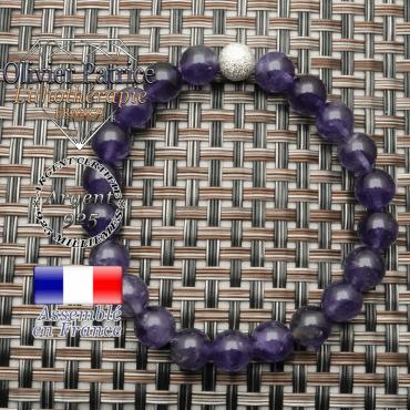 Bracelet pour femme en améthyste, pierre naturelle, et sa boule strass brillante en argent 925 unie