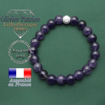 Bracelet argent 925 femme améthyste naturelle pierre minérale et son strass jeux olympique en 8 mm ronde