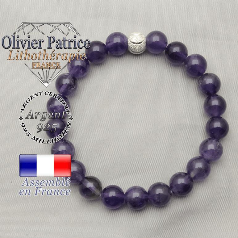Bracelet femme argent 925 avec des améthystes, pierres naturelles, monté avec une boule strass brillante en argent 925 sourire
