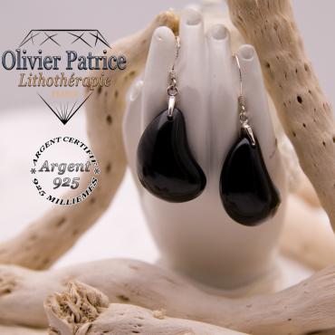 Boucles d'oreilles lune en obsidienne et argent 925