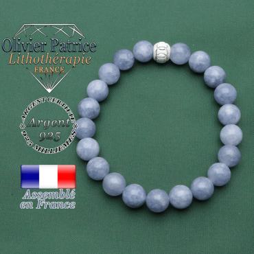 Bracelet avec son appret des jeux olympiques JO boule brillante en argent 925 strass et ses pierres angélite