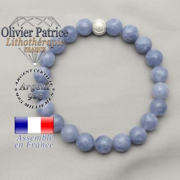Bracelet femme smiley sourire argent 925 boule strass et ses pierres naturelles rondes d'angelite naturelle
