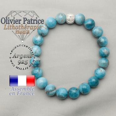 Bracelet apatite naturelle en argent 925 avec sa boule strass au sourire gravé