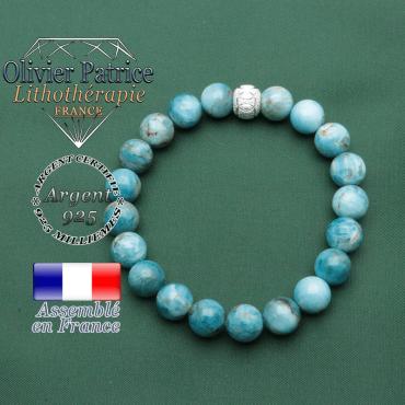 Bracelet JO femme avec sigle argent 925 gravé sur une boule strass jeux olympiques et apatite naturelle