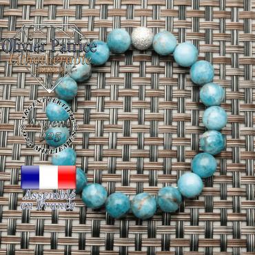 Bracelet pierre apatite naturelle argent 925 et boule strass brillante unie