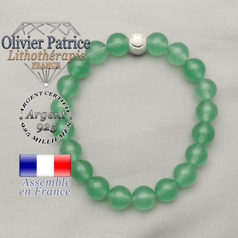 Aventurine naturelles montées avec un apprêt strass sourire en argent 925 pour un bracelet femme