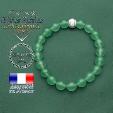 Bracelet en aventurine femme verte et naturelle avec boule argent 925 strass des jeux olympiques JO