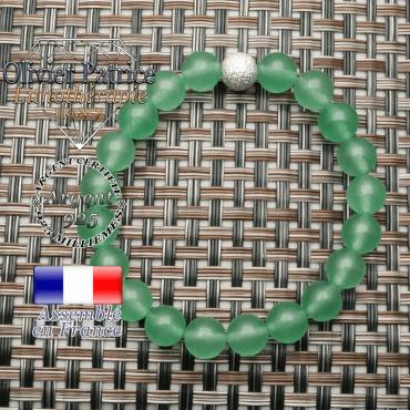 Bracelet uni strass en argent 925 et ses pierres naturelles aventurine verte