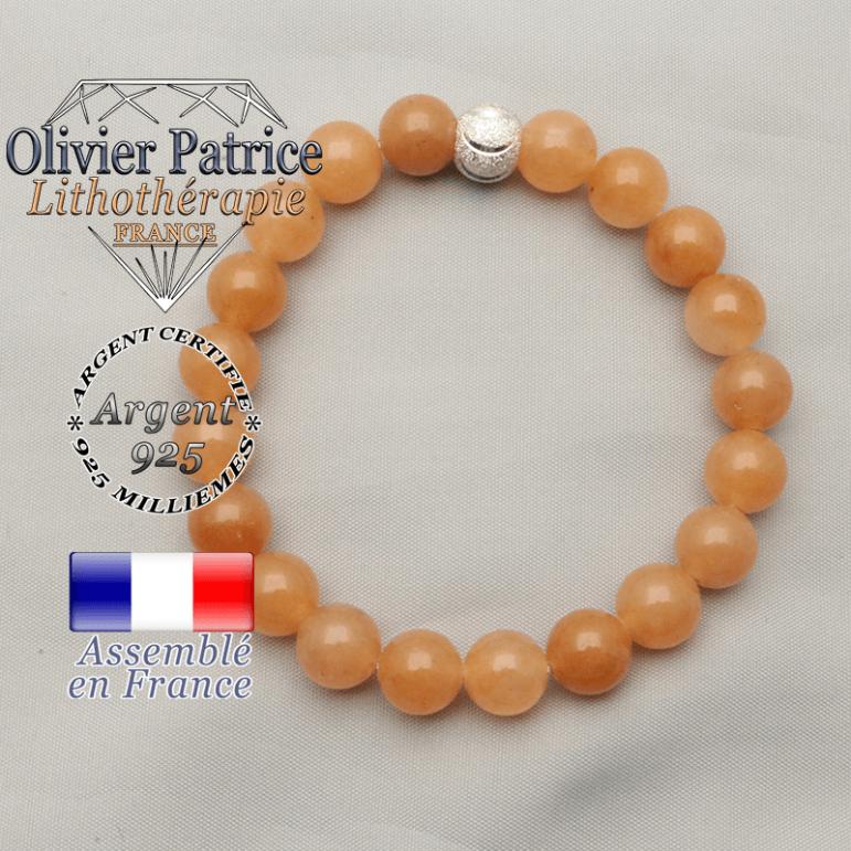 Bracelet aventurine orange pour femme monté avec un appret rond strass brillante et sourire smilé en argent 925