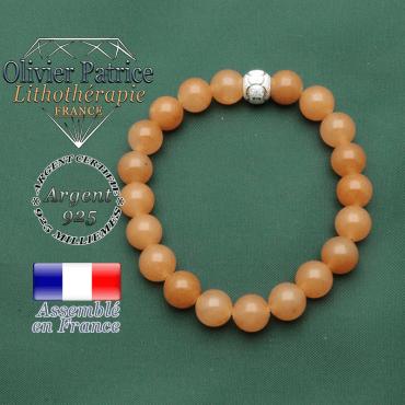 Bracelet de pierres naturelles en aventurine orange et sa boule strass brillante JO pour femme et en argent 925