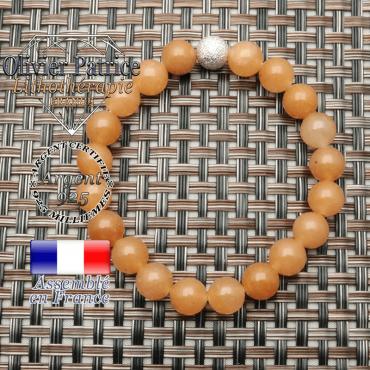 Bracelet femme de pierres naturelles aventurine orange et sa boule strass brillante en argent 925