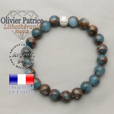 Boule strass sourire argent 925 monté avec des bornites bleus et or naturelles pour bracelet femme