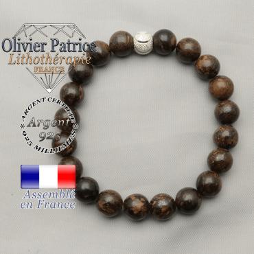 Bracelet bronzite naturelle en argent 925 avec son appret sourire strass de 8 mm rond