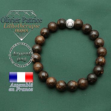 Bracelet des jeux olympiques en bronzite naturelle avec sigle symbole des JO