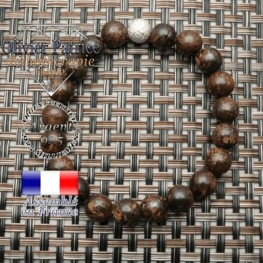 Bracelet strass rond 8 mm uni avec pierres naturelles de bronzite