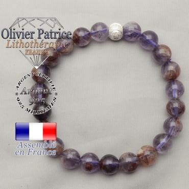 Bracelet sourire strass argent 925 avec ses perles rondes de cacoxenite naturelles