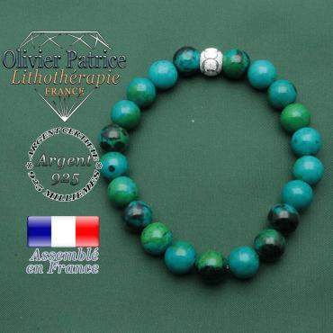 Joli bracelet strass argent 925 avec symbole grave rond des jeux olympiques avec pierres naturelles chrysocolle